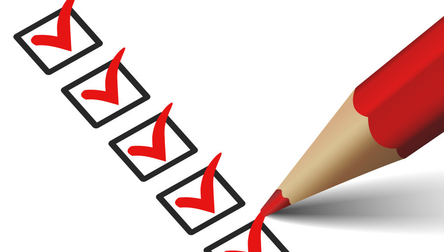 Vector check mark symbol and icon on red checklist with pen for business design concept and web graphic EPS 10 illustration on white background.